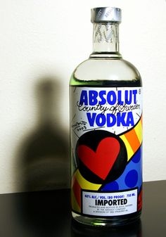 This is the first special limited edition ever released by Absolut Vodka. Released in 2003, commemorating the 25th anniversary of Absolut in U.S.A., the bottle was designed by Brazillian artist Romero Britto in a very limited edition.