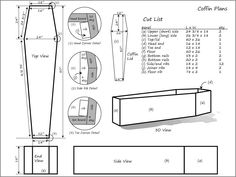 Building your own coffin (or casket) can be a rewarding experience. Use these plans to build your own coffin. This coffin can be used as a piece of furniture (coffee table, storage chest, or bookshelf). Perhaps you need to build a coffin for a stage prop Intarsia Wood Patterns, Wood Carving Patterns, Halloween Projects, Halloween Crafts, Halloween Christmas, Halloween Town, Halloween Stuff, Scary Halloween, Halloween Coffin
