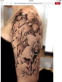 Floral and script black and grey