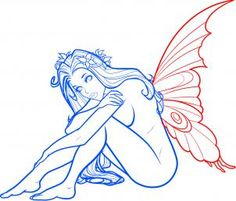 how to draw a fantasy fairy, fantasy fairy girl step 10