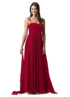 DAVID&-39-S BRIDAL Style F12668 &quot-Apple&quot- RED Sz 4 Chiffon Bridesmaid ...