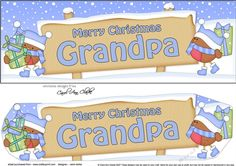 large DL Merry Christmas GRANDPA Robins 3D decoupage by Carol Clarke A Lovely Personalised Christmas Design with a festive snowy Xmas Scene…