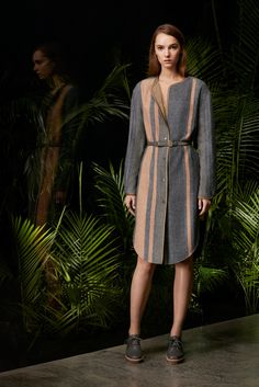 Maiyet Pre-Fall 2016 - Look 12 - Gray and shell pink wool button front, belted coat with rounded hem and tan reverse. Gray brogues. different but subtle