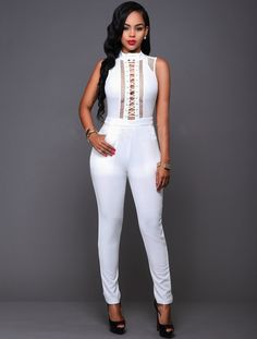 Hollow Out Lace Up Back Zipper Sleeveless Long Jumpsuit White Jeans Outfit, White Outfits, Casual Outfits, Fashion Outfits, Black Girl Fashion, Love Fashion, Lace Jeans, Long Jumpsuits, Lace Up