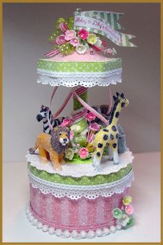 """""""Pink and Green Carousel"""" Cake Topper"""