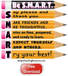 "Download and print this FREE 3 page ""Be S.M.A.R.T.""   Classroom Rules bulletin board display for your classroom from Unique Teaching Resources!"
