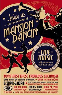 "Mansion Dancin' Ad Bundle. Client wanted design to mimic a 1940s Canteen Swing Dance flyer but with a more modern ""jazz-like"" feel. All artwork and custom type created using Adobe Illustrator. Bundle included two ad sizes and web buttons."