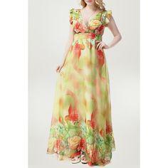 $26.58 Refreshing V-Neck Ruffles Cap Sleeve Floral Printed Chiffon Maxi Dress For Women