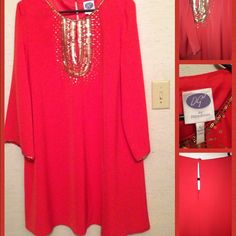 Bohemian style dress large fits an xl as well. Bohemian style dress. With elaborate detailing around the chest. Detailing around sleeves and neck as well. Button closure at the neck beautiful dress! Orange not red detailing us gold large but will fit a sz 16 xl Dg2 by Diane gilman  Dresses Midi