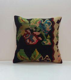 Pillow Cover Organic Shine Society Modern Bohemian Throw Pillow. Handwoven Vintage Tribal Turkish Red Kilim Pillow Cover