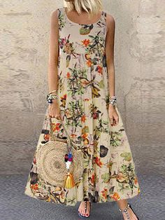 Round Neck Floral Printed Maxi Dress Fashion girls, party dresses long dress for short Women, casual summer outfit ideas, party dresses Fashion Trends, Latest Fashion # Vintage Style Dresses, Casual Dresses, Fashion Dresses, Maxi Dresses, Vintage Outfits, Long Dresses, Women's Fashion, Sleeveless Dresses, Fashion Vintage