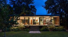 Florida-based studio Brillhart Architecture has completed a home fronted by slatted wooden shutters in a lush Miami forest. The house, named Brillhart Residence, was designed by husband-and-wife du. Nachhaltiges Design, House Design, Glass Pavilion, Future Buildings, Wooden Shutters, Architecture Images, House Architecture, Construction, Building Materials
