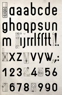 """Joost Schmidt Bauhaus searches for """"Universal typeface"""" (uppercase), 1924…"""