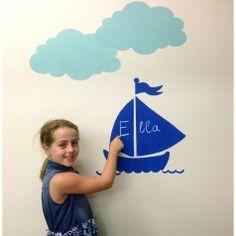 Sailboat Chalkboard Stencil. Buy it here for only $9.95 >> http://www.cuttingedgestencils.com/sailboat-wall-stencils-chalkboard-paint.html?utm_source=JCG&utm_medium=Pinterest&utm_campaign=Sailboat%20Chalkboard%20Stencil