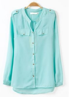 Comfy Mandarin Collar Long Sleeve Button Fly Blouses Blue
