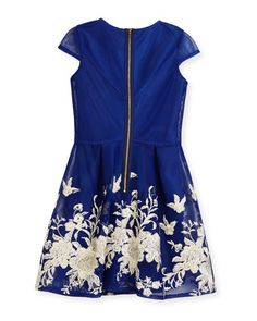 Z1S2P David Charles Cap-Sleeve Pleated Floral Mesh Dress, Blue, Size 8-16