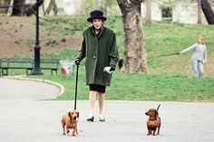 Brooke Astor and her dachshunds, Boysie and Girlsie