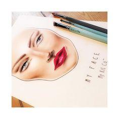 Contoured face with red lips #myface by #mykitco  #makeupartistsworlwide #facechartart #MKC #artofthechart #redlip #chartart #facecharttutorials  Visit My Kit Co.™ now on YouTube!
