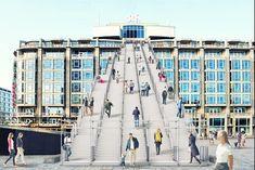 De Trap als rode loper naar de wederopbouw van de stadDe stad Rotterdam krijgt vanaf half mei tot en met half juni een tijdelijk nieuwe blikvanger: een gigantische trap met 180 treden vanaf het Stationsplein, pal voor het Groot Handelsgebouw. De steigerinstallatie, naar een idee van architectenbureau MVRDV, is een knipoog naar 75 jaar wederopbouw van de stad, dat dit jaar wordt gevierd met de manifestatie Rotterdam viert de stad! De trap wordt op 16 mei officieel geopend door burgemeester…