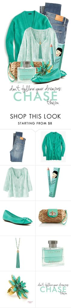 """""""don't follow your dreams....chase them"""" by queenrachietemplateaddict ❤ liked on Polyvore featuring Citizens of Humanity, J.Crew, Wrap, Benefit, Chocolat Blu, Elizabeth Raine, HUGO and WALL"""