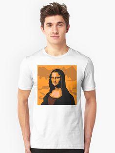 'Mona Lisa' T-Shirt by iopan Lisa S, Mona Lisa, Design Products, Chiffon Tops, Classic T Shirts, Slim, Fitness, Mens Tops, Dresses