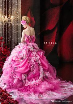 Amazing Stella de Libero Wedding Dresses 2014 2015 - Be Modish - I would wear it to a masquerade with a beautiful mask to match Wedding Dresses 2014, Wedding Gowns, Prom Dresses, Bridesmaid Gowns, Beauty And Fashion, Pink Fashion, Pink Dress, Dress Up, Pink Princess Dress