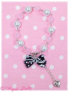 Angelic Pretty: 2013 Dot Cute Ribbon Ribbon Bracelet in black