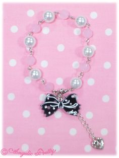 Angelic Pretty: 2013 Dot Cute Ribbon Ribbon Bracelet in black