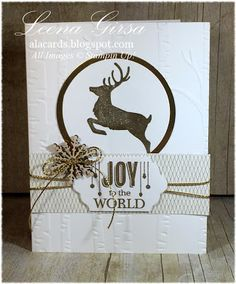 A La Cards: Joy to the World - SU - Christmas - Christmas card featuring the Jolly Christmas stamp set.