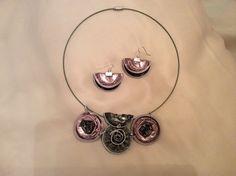 Girocollo e orecchini con cialde caffe realizzate da Vilma perego milano
