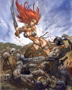 The beautiful and fearless Hyrkanian, Red Sonja, is rendered by bad boy Brit artist, Simon Bisley in this mixed media illustration. Simon Bisley, Red Sonja, Chica Heavy Metal, Comic Kunst, Batman, Conan The Barbarian, Pulp, Sword And Sorcery, Fantasy Paintings