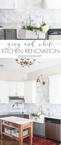 Two-toned gray and white cabinets, marble subway tile, Carrara countertops, a big farmhouse sink, and brass hardware give this marble kitchen a classic yet modern look.