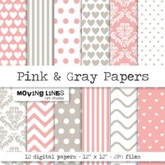Digital Paper Pink Wallpaper Gift Wrapping Paper Wedding Invite Pink and Gray Damask Striped Dotted
