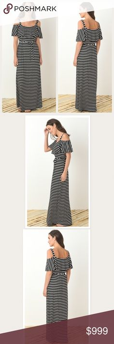 "✨JUST IN✨ Gilli Open Shoulder Maxi Dress GILLI Open Shoulder Striped Maxi. Colors are black and white striped. Gorgeous dress! I loved this so much, I kept one for myself! ❤️  ☀️Available in S-M-L (runs TTS) ☀️54"" from shoulder to hem ☀️All measurements are approximate and based on laying flat  ☀️Fabric: 48% poly/48% rayon/4%spandex ⚡️Create a BUNDLE and SAVE an ADDITIONAL 15%!! Gilli Dresses Maxi"