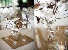 love this idea from a rustic farm wedding. Farm Wedding, Wedding Table, Rustic Wedding, Wedding Ideas, Wedding Bells, Branch Centerpieces, Wedding Centerpieces, Wedding Favors, Burlap Mason Jars