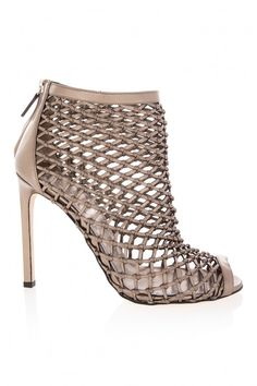 85242e29a1d Metallic Leather Weave High Heel Boots