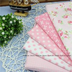 Flower Fabric DIY Patchwork Sewing Kids Bedding Cotton Fabric Talasite Dot and stripe Cloth 5 pcs 40*50cm HOME Textiles Fabric