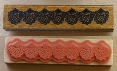 Large fancy Lace Doily swag or banner Edge Strip Japanese Wood stamp