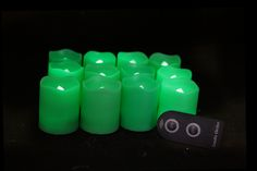 2 Inch Flameless Remote Control Votive Candles - Green - 12 Pack Glow Bracelets, Glow Sticks, Votive Candles, Remote, Green, Pilot