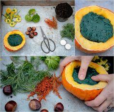Herbstdeko mit Kürbissen selber-machen-blumenschwamm-blumengesteck