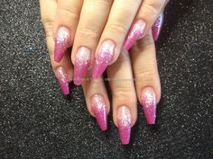 Coffin acrylic nails with pink acrylic and white glitter