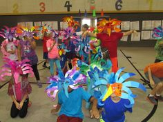 Paper mache Brazilian carnival masks made by my grade students for their mask parade; lesson by art teacher: Susan Joe Brazil Carnival, Carnival Themes, Carnival Masks, Carnival Costumes, Carnival Crafts, Olympic Idea, Brazil Art, South American Art, World Thinking Day