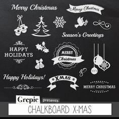 Chalkboard christmas: clipart CHALKBOARD X-MAS elements by Grepic