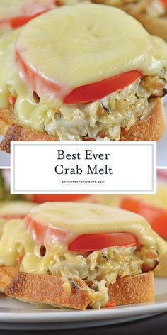 This Crab Melt will become your favorite open faced sandwich recipe! Deliciously cheesy and easy to make!savoryexperim… This Crab Melt will become your favorite open faced sandwich recipe! Deliciously cheesy and easy to make! Crab Sandwich, Crab Salad Sandwich Recipe, Crab Burger, Sandwich Melts, Sandwich Shops, Crab Melt, Crab Dishes, Crab Meat Recipes, Spinach Recipes