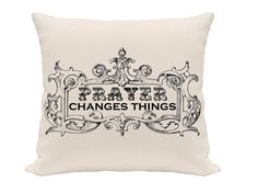 framed prayer pillow cover linen black and natural by gracioushome, $18.00