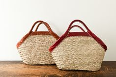 brown / red leather handle baskets