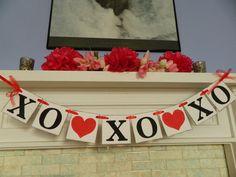 Valentines Day Decor Valentines Garland XO XO XO  Banner Hugs and Kisses Banner Valentines Day Photo Prop Holiday Decor. $17.00, via Etsy.