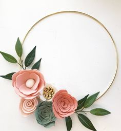 This wreath would go great in your home, office, gallery wall, nursery. This is on a 12 hoop but can be put on an 8 or 10 one as well. Felt Flowers, Diy Flowers, Fabric Flowers, Paper Flowers, Wedding Flowers, Felt Wreath, Diy Wreath, Paper Flower Wreaths, Floral Wreath