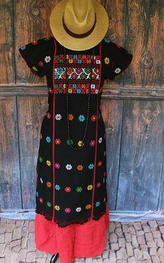 Black & Multi-Color Amuzgo Huipil Hand woven Mexico Frida Kahlo Santa Fe Style  #Handmade #Huipildress