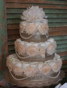 Items similar to 3 Tier Floral and Burlap Shabby Chic Pink, Ivory, and Gold Diaper Cake w/ Pearls on Etsy Cute Baby Shower Ideas, Baby Shower Crafts, Baby Shower Gifts For Boys, Baby Nappy Cakes, Diaper Cakes Tutorial, Money Cake, Wedding Cake Photos, Shabby Chic Pink, Baby Shower Diapers